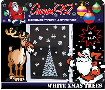 Christmas Trees X And  Snowflake Window Stickers  XTRA - Snowflake window stickers amazon
