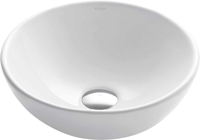 Kraus KCV-341 Elavo White Ceramic Small Round Vessel Bathroom Sink