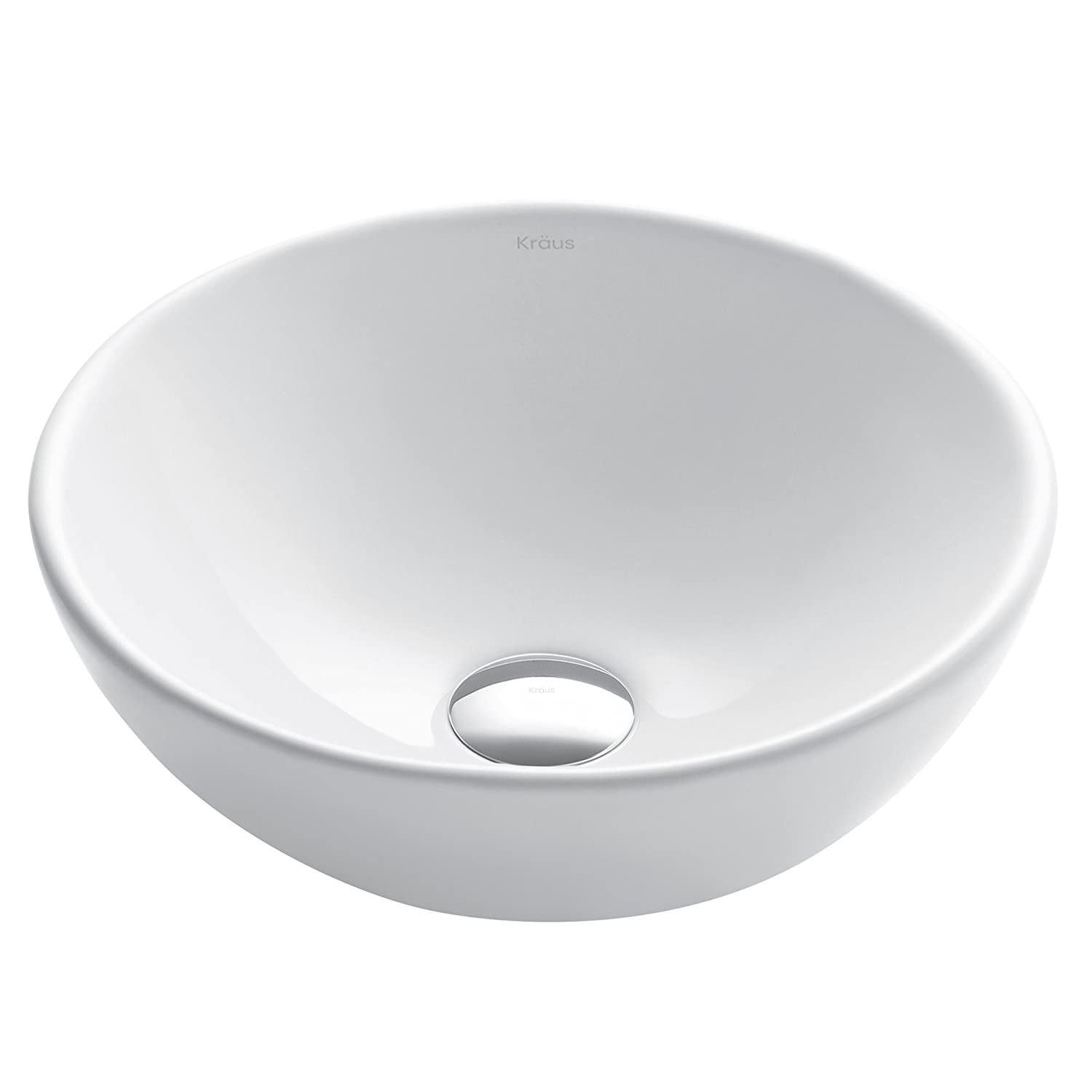 Kraus KCV-341 Elavo White Ceramic Small Round Vessel Bathroom Sink
