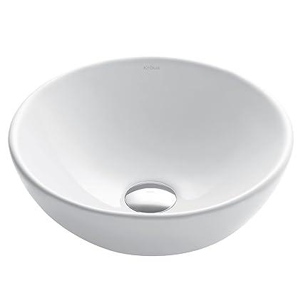 Remarkable Kraus Kcv 341 Elavo White Ceramic Small Round Vessel Bathroom Sink Download Free Architecture Designs Embacsunscenecom