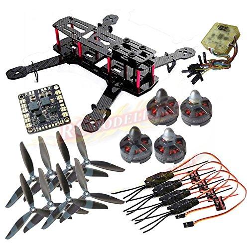 powerday QAV250クワッドローターキット 炭素繊維製フレームキット+Tarot MT2204Ⅱ 2300KVモーター+Emax 12A ESC+CC3Dフライトコントローラー+Matek 配電基板ボード+6045 3ブレードプロペラ