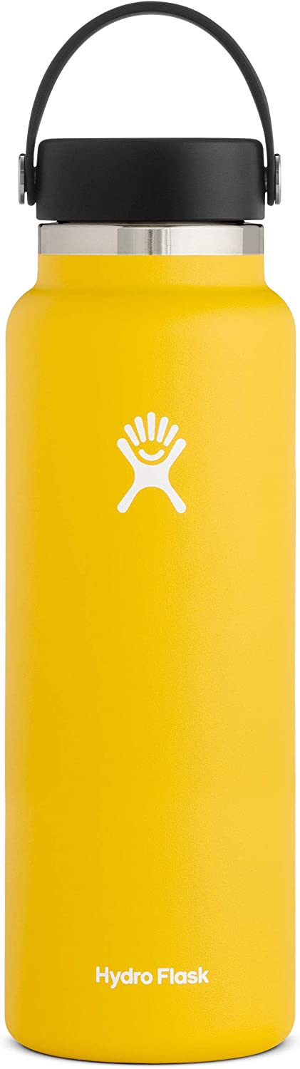 Hydro Flask Water Bottle - Stainless Steel & Vacuum Insulated - Wide Mouth 2.0 with Leak Proof Flex Cap - 40 oz, Sunflower