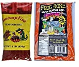 Louisiana Crawfish, Shrimp and Crab Seafood Boil Sampler Bundle - 1 each of Frog Bone and Swamp Fire Complete Boil (1 Pound each)