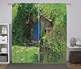 Polyester Window Drapes Kitchen Curtains,Hobbits,Fantasy Hobbit Land House in Magical Overhill Woods Movie Scene New Zealand,Green Brown Blue,Living Room Bedroom Kitchen Cafe Window Drapes 2 Panel Set