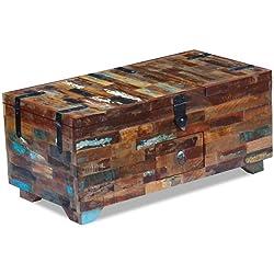 vidaXL Mesa de Centro Cofre Madera Maciza Reciclada 80x40x35 cm 3 Compartimentos