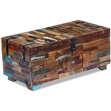 Vidaxl Massivholz Couchtisch Truhe Beistelltisch Sofatisch