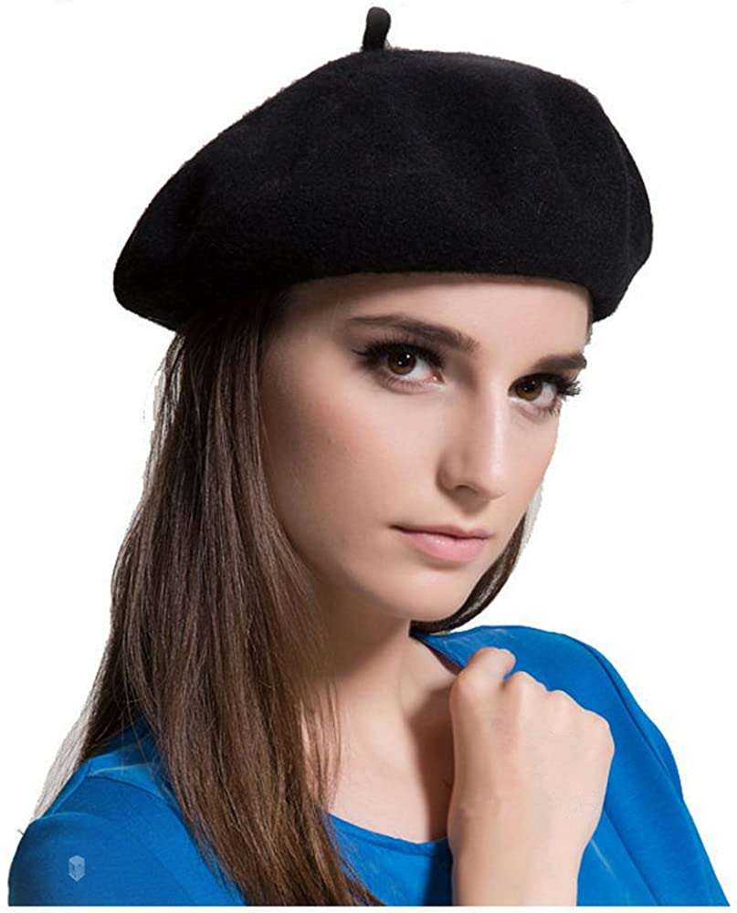 NEW Size 7 Black Wool Military Style Beret Small Berret