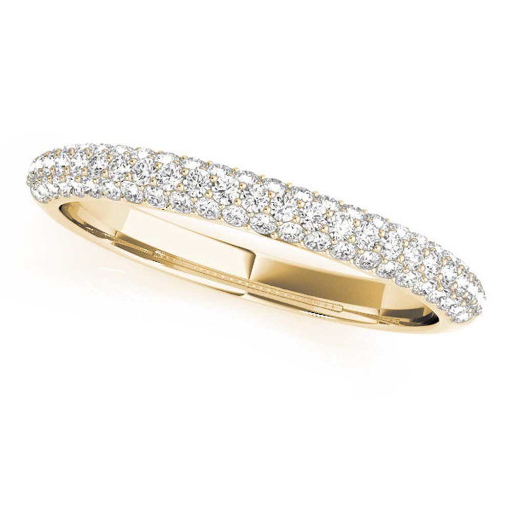 14K Yellow Gold Plated 0.37ctw White Simulated Diamond Triple Row Wedding Band Ring For Women