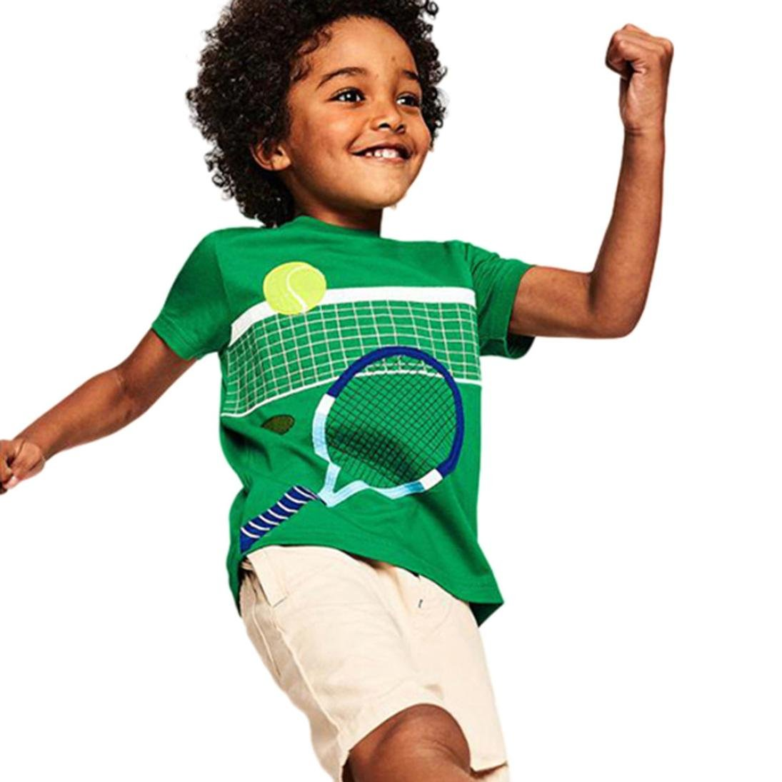 Transer Short Sleeve T-Shirt Tee Shirt Tops for Infant Toddler Kids Baby Boys Girls Age 1-8