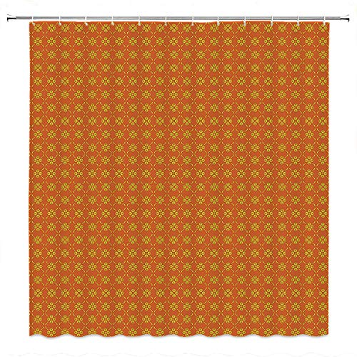 Basics Shower Curtain with Hooks (Treated to Resist Deterioration by Mildew)-Floral Small Spring Blossom Motifs Orange Background Classical Ornaments etro Pattern Orange Yellow.W108 x L72 inch