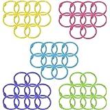 50 Pcs Multi-Color Metal Loose Paper Leaf Binder Rings Notebook Rings Book Rings Keychains Keyrings