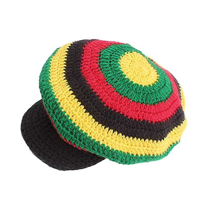 7d7088d30 Cinhent Hat Women Winter Wool Multicolor Striped Knitted Wool Rasta Girl  Caps