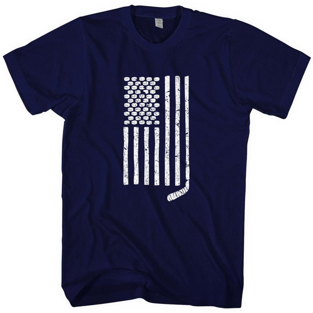 Mixtbrand Men's Hockey Stick and Pucks American Flag T-Shirt