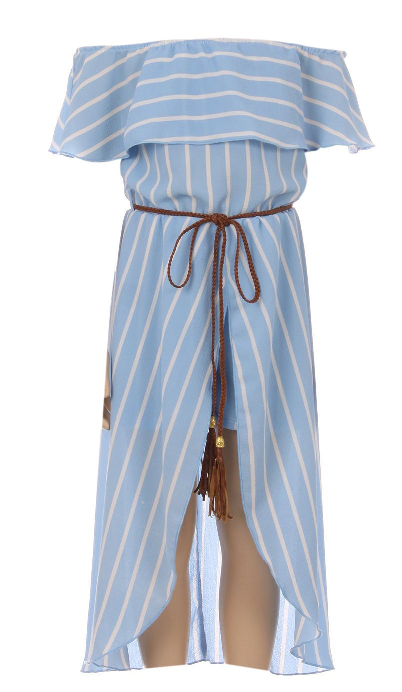 Big Girl Off Shoulder High Low Maxi Skirt Romper Casual Summer Birthday Outfit Blue 8 JKS 2137