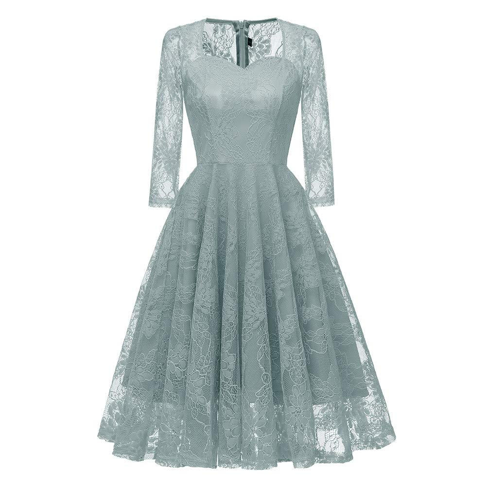 Party Dress,Sunfei Women 3/4 Sleeve Vintage Princess Floral Lace Cocktail V-Neck Party Aline Swing Dress (Green, Large)