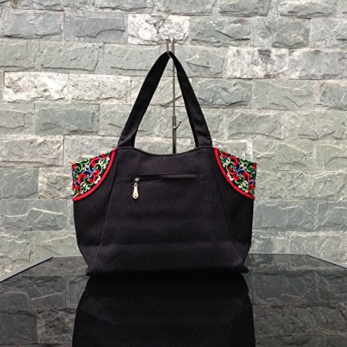 Canvas Lady Bag Retro New Shoulder Original Handbag Embroidered Gwqgz XqOU7wX