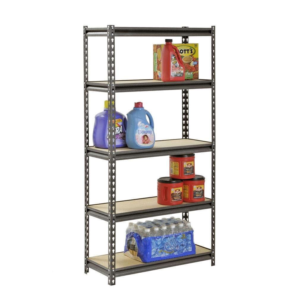 Muscle Rack 5-Shelf Steel Shelving, Silver-Vein (12'' D x 30'' W x 60'' H)