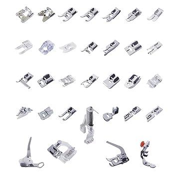 Un Set con 32 Piezas Prensatelas Accesorios para Máquina de coser: Amazon.es: Hogar
