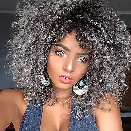 Pelucas de pelo rizado para mujer negra, pelo gris natural para ...