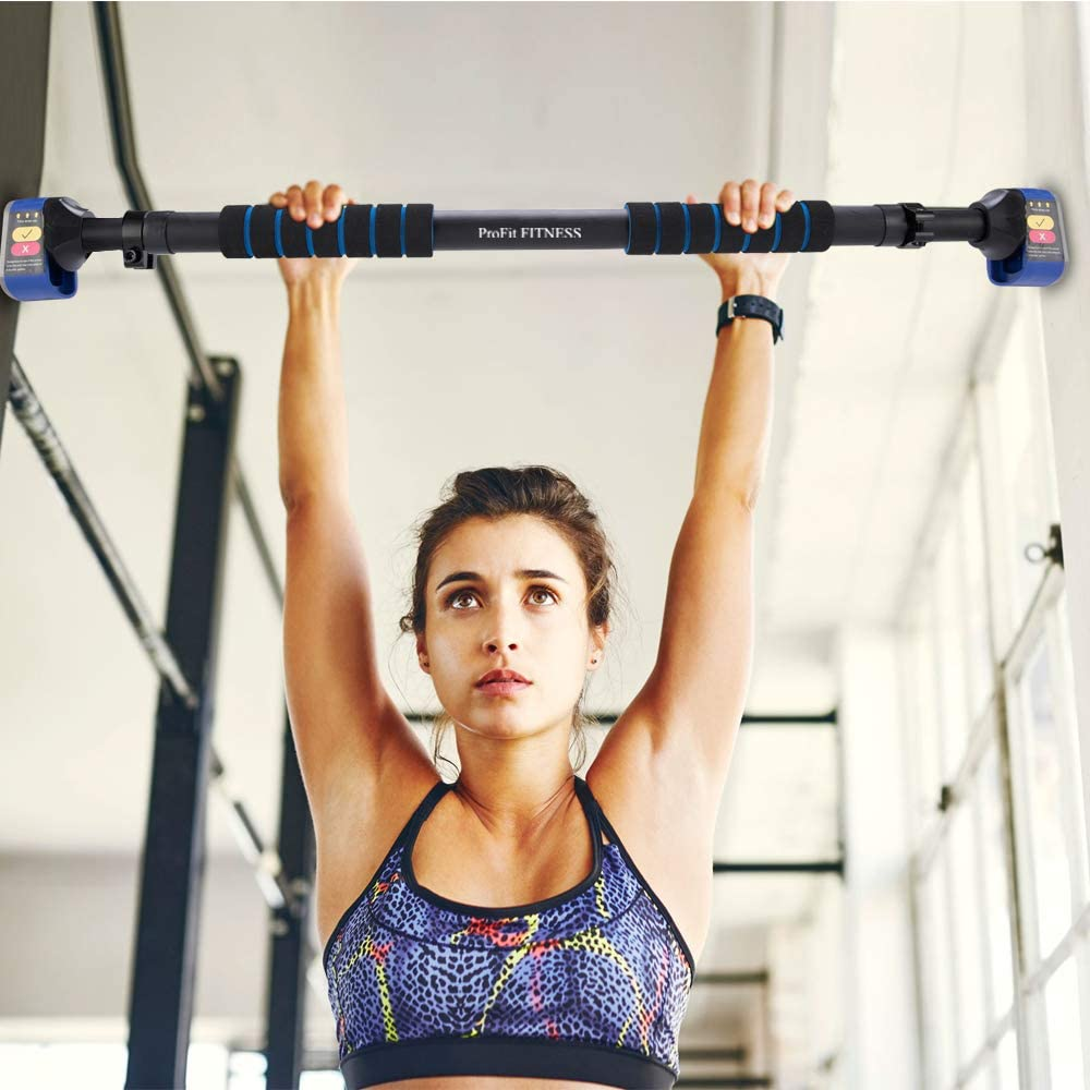 Pull Up Bar Chin up Bar Doorway Exercise Bar Upper Body Workout Bar – Alu Locking Mechanism - No Screws- No Tools for Home Gym Exercise Fitness with 28.5'' - 37.5'' Adjustable Width