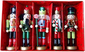 BlueSpace Christmas Nutcracker Ornaments Set Wooden Nutcrackers Hanging Decorations for Christmas Tree Figures Puppet Toy Gifts(5'',Set of 5pcs)