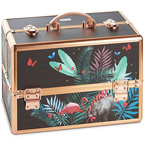 Beautify Large Jungle Professional Makeup Cosmetic Organizer Train Case 14 Lockable Storage Box with Rose Gold Handles