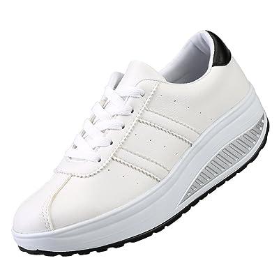 KUIBU Women Lightweight Sport Breathable Slip-On Platform Toning Shoes Canvas High Heel Sneaker Athletic