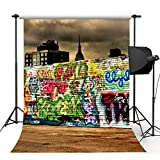 Kooer 6x9ft The Graffiti Wall Style Photography Backdrops Street Culture Style Photography Backgrounds Photo Studio Prop Baby Children Family Photoshoot Backdrop Customized Various Size