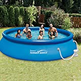 Summer Waves 15-Foot Quick Set Inflatable Ring Pool with Filter Pump
