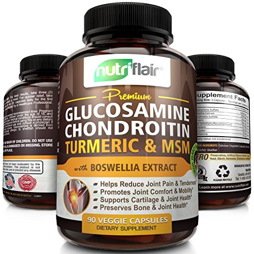Premium Glucosamine Chondroitin Turmeric MSM with Boswellia - Complete Joint Pain Relief Health Supplement - Best Antioxidant & Anti-Inflammatory Pills, Non-GMO & Natural, for Knee, Back, Hand, & more