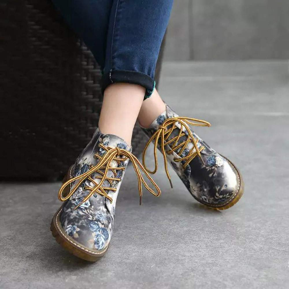 Ninasill Combat Boots Women Ladies Soft Flat Ankle Floral Print Christmas Shoes Lace-Up Boots