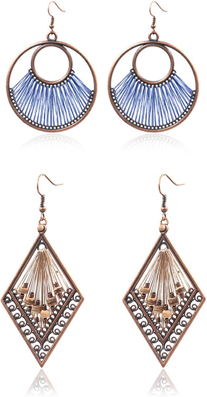 Womens Boho Tribal Ethnic Circle Round Hoop Earrings Vintage Exaggeration Carved U Shape Flower Basket Earrings Dangle Drop Ear for Girls Jewelry Gift