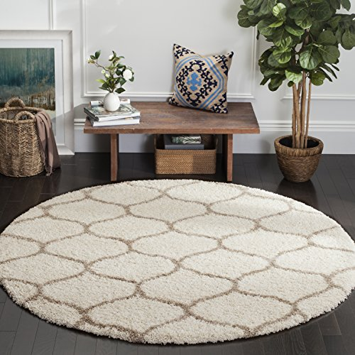Safavieh Hudson Shag Collection SGH280D Ivory and Beige Moroccan Ogee Plush Round Area Rug (7' Diameter)