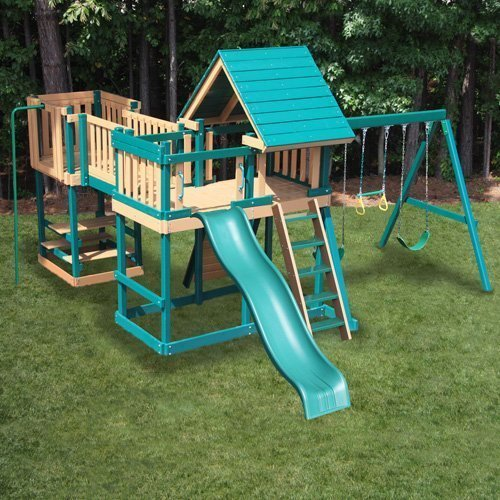 CONGO Monkey Playsystem #5 with Swing Beam - Green and Cedar Low Maintenance Play Set -