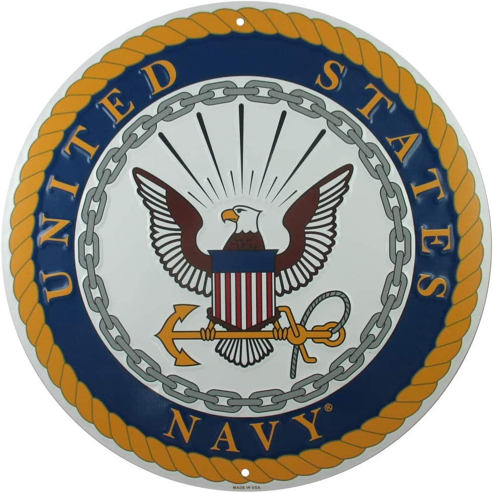 Tags America United States Navy Logo Metal Sign, 12 Inch Round Embossed Aluminum Emblem, US Military Service Branch Wall Decor