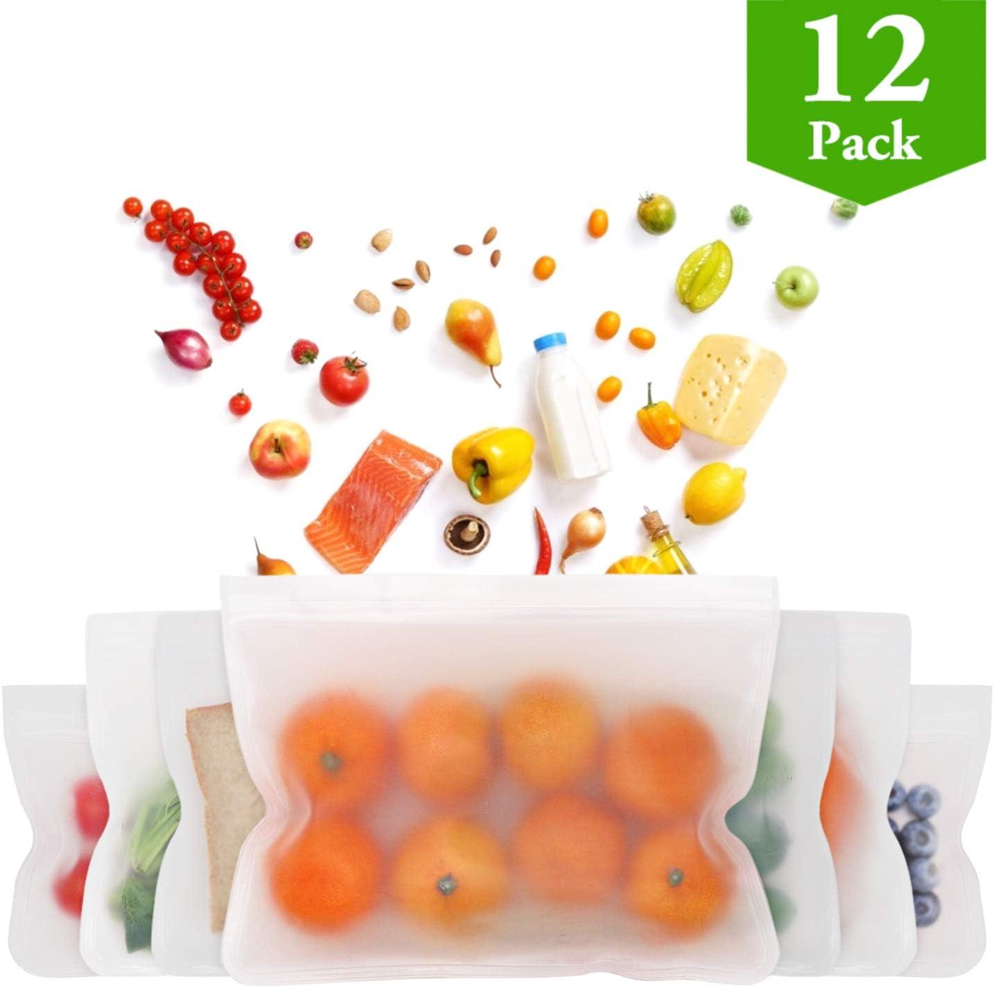 Reusable Storage Bags - 12 Pack BPA FREE Freezer Bags(4 Reusable Gallon Bags, 4 Reusable Sandwich Bags, 4 Reusable Snack Bags), Leakproof Ziplock Lunch Bags for Food Storage Travel Home Organization