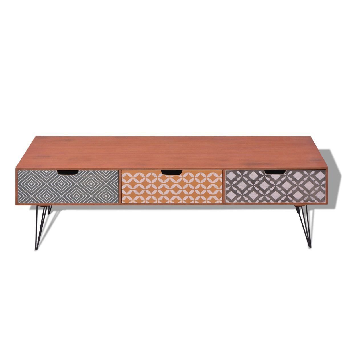 Retro Style TV Cabinet Storage Drawers Sideboard Low Side Console Table Stand