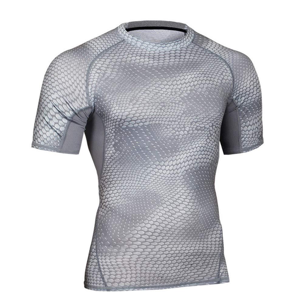 HuntDream Mens Compression Cool Dry Sport Top Maglia Manica Corta da Allenamento a Maniche Corte