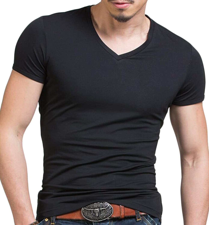 Zago Mens Casual Muscle Short Sleeve V-Neck Jersey T-Shirt