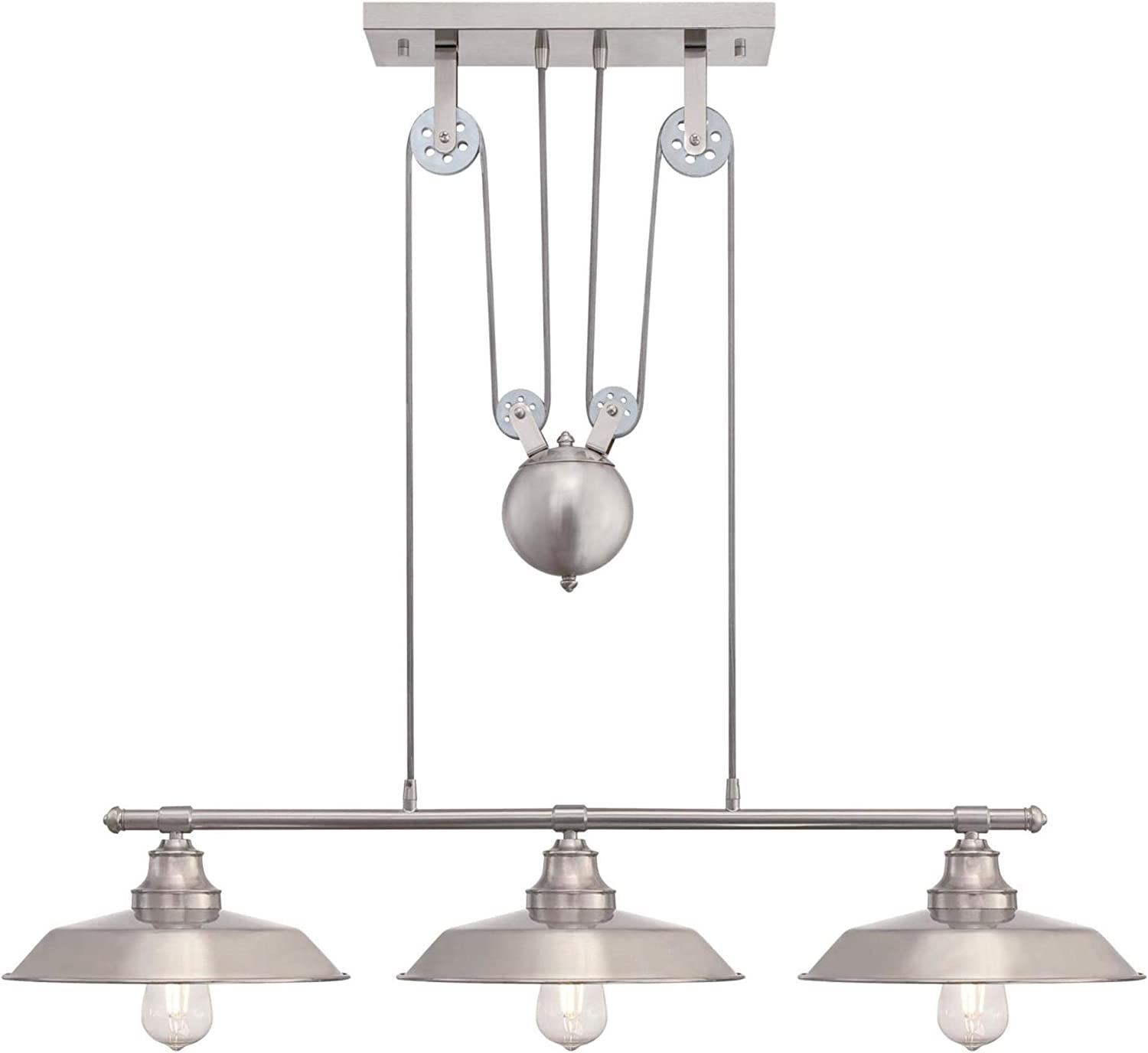 Westinghouse Lighting 6369900 Iron Hill Three-Light Indoor Island Pulley Pendant Light, Brushed Nickel Finish