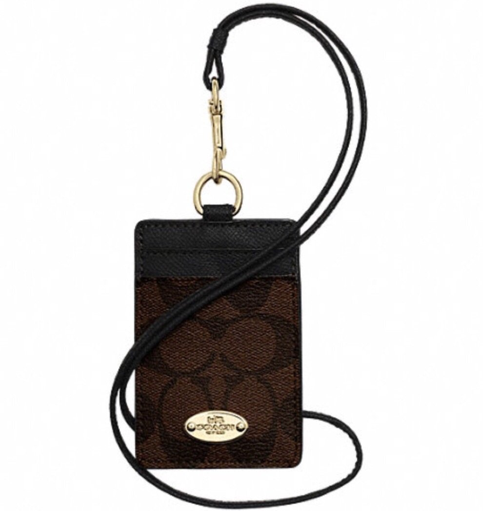 Coach Signature C Brown Black Lanyard, Badge ID Credit Card Holder 63274 by Coach