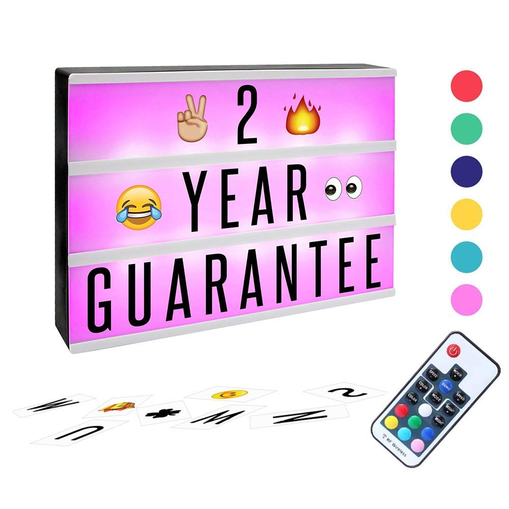Size:5.9x4.3x1.6inch Upgraded Wireless Rechargeable Mini Lightbox with Letters Room Birthday Multi-Color Changing Light Box with Remote Control for Party SOMONEY A6 Light Box Emoji Card