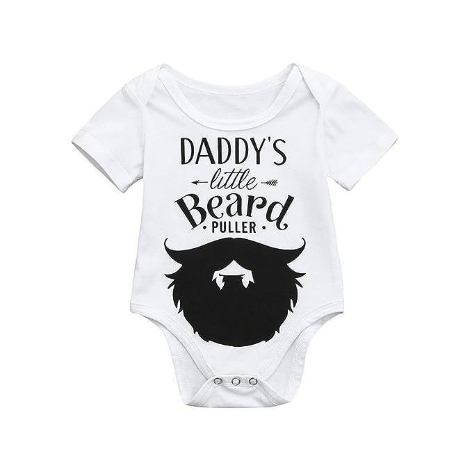 UK Newborn Baby Boy Beard 3pcs Clothes Tops Romper Bodysuit Pants Hat Outfit Set