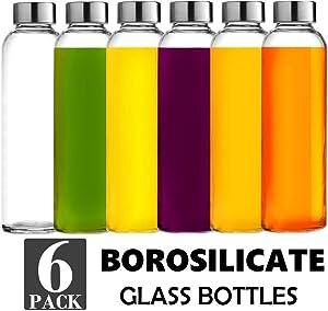 Brieftons Borosilicate Glass Water Bottles: 6 Pack, 18 Oz, Stainless Steel Leakproof Lid, Durable, Crack Resistant, Best As Reusable Drinking Bottle, Sauce Jar, Juice Beverage Container, Kefir Kit