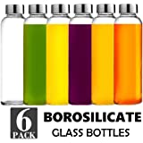Brieftons Borosilicate Glass Water Bottles: 6 Pack, 18 Oz, Stainless Steel Lid, Durable, Crack & Heat Resistant, Best As Reusable Drinking Bottle, Sauce Jar, Juice Beverage Container, Kefir Kit