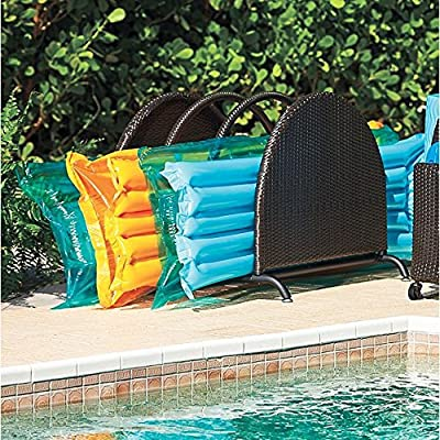 "Espresso Brown Outdoor Resin Wicker Pool Toy Raft Inflatable Noodle Storage Caddy Rack Organizer 35""Sq. x 29-1/4""H"