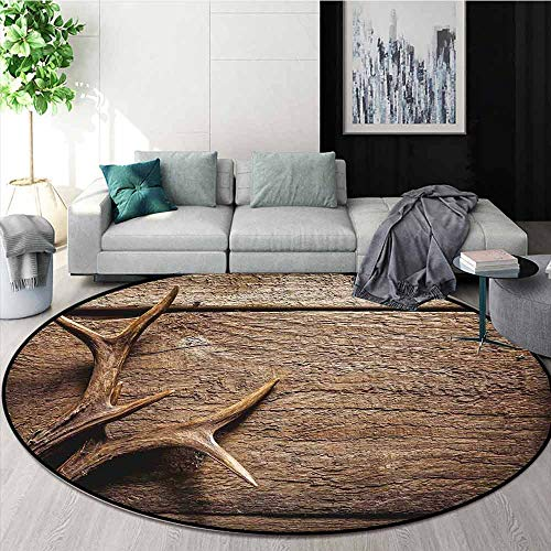 Antlers Decor Non-Slip Absorbent Carpet Deer Antlers on Wood Table Rustic Texture Surface Hunting Season Decorating for Floor Carpets D70.8 Inch