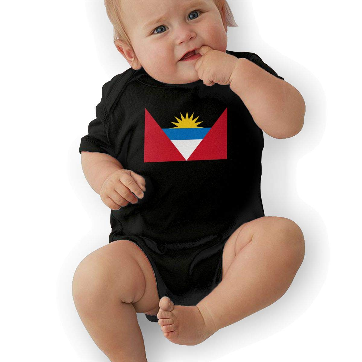 Flag of Antigua and Barbuda Retro Newborn Baby Short Sleeve Bodysuit Romper Infant Summer Clothing