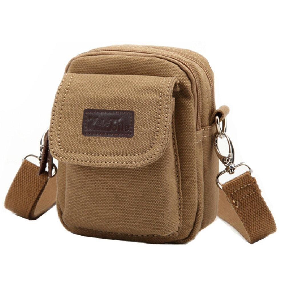 ZeleToile BS-20 mini sacoche peut être attaché sur la ceinture / sacoche bandoulière en toile / sacoche de sport pour homme (kaki) ZLBSW20