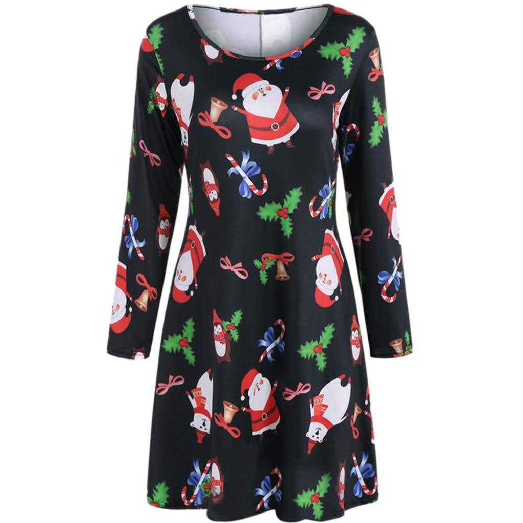 Soupliebe Frauen Weihnachten Weihnachtsmann Print Kleid Damen Weihnachten Langarm Party Kleider Abendkleider Cocktailkleid Partykleider Blusenkleid